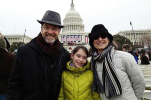 Ambassador Eisen with his wife and daugher at the inauguration ceremony in Washington, D.C.