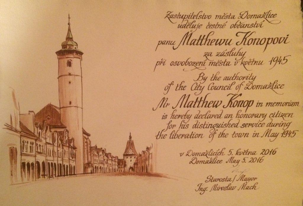 České občanství Mattu Konopovi udělilo město Domažlice 5. května 2016